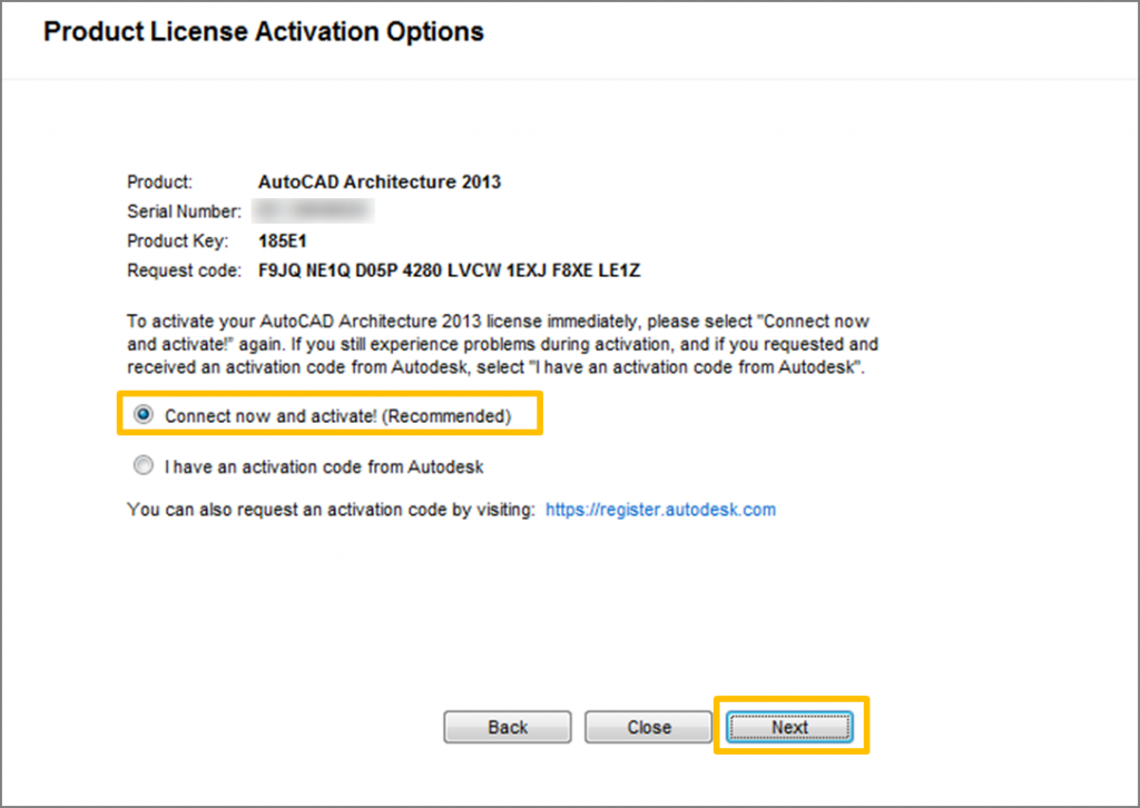 How to manually activate Autodesk products using an activation code