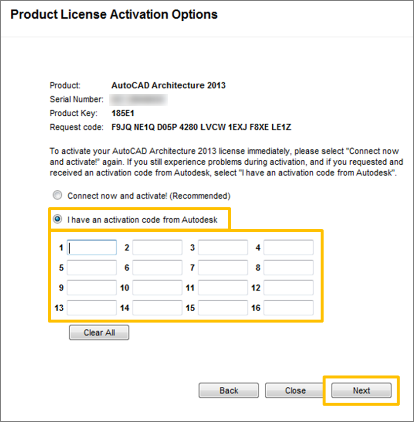 How to manually activate Autodesk products using an